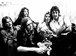 Wings 1973 Denny Seiwell, Henry McCullough, Denny Laine, Linda McCartney, Paul McCartney backstage July 6th 1973 Birmingham<br /> &copy; Chris Walter