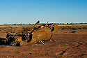 Rusted burned down car in Karratha, Western Australia