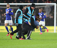 31st January 2020; Cardiff City Stadium, Cardiff, Glamorgan, Wales; English Championship Football, Cardiff City versus Reading; The pitch invader is captured by stewards