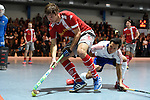 Mannheim, Germany, January 24: During the 1. Bundesliga Herren Hallensaison 2014/15 quarter-final hockey match between Mannheimer HC (white) and Club an der Alster (red) on January 24, 2015 at Irma-Roechling-Halle in Mannheim, Germany. Final score 2-3 (1-2). (Photo by Dirk Markgraf / www.265-images.com) *** Local caption *** Alessio Ress #7 of Club an der Alster, Patrick Harris #17 of Mannheimer HC