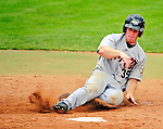 25 July 2010: Tri-City ValleyCats outfielder Daniel Adamson slides home to tie the game 8-8 with the Vermont Lake Monsters at Centennial Field in Burlington, Vermont. The ValleyCats came from behind to defeat the Lake Monsters 10-8 in NY Penn League action. Mandatory Credit: Ed Wolfstein Photo