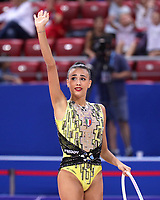 September 10, 2018 - Sofia, Bulgaria -  ALISSIA RUSSO of Italy waves to fans at 2018 World Championships.