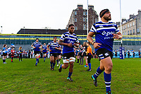 Lucas Noguera, Levi Douglas and the rest of the Bath United team run onto the field. Premiership Rugby Shield match, between Bath United and Gloucester United on April 8, 2019 at the Recreation Ground in Bath, England. Photo by: Patrick Khachfe / Onside Images