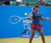 June 11th 2017, Nottingham, England;WTA Aegon Nottingham Open Tennis Tournament day 2;  Sachia Vickery of USA who lost to Jana Fett of Croatia in two sets plays a backhand