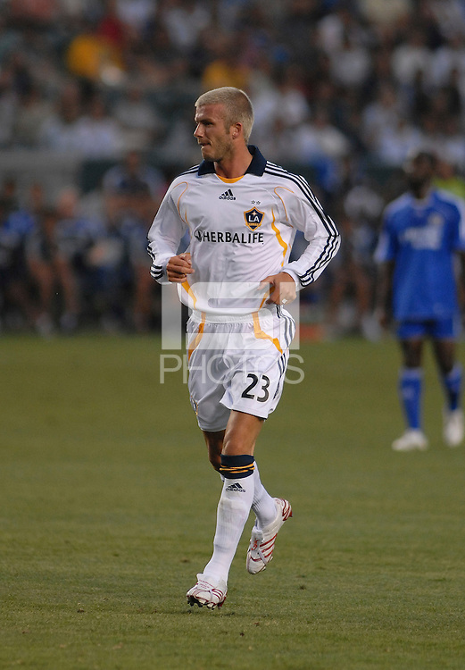 David Beckham makes his first appearance as a member of the LA Galaxy during the second half of play.  Chelsea won 1-0 over LA Galaxy on Saturday, July 21, 2007 at the Home Depot Center in Carson, CA.