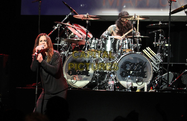 Los Angeles, CA - May 12: Ozzy Osbourne, Tommy Clufetos Attending 2014 MusiCares MAP Fund Benefit Concert - Show At Club Nokia  California on May 12, 2014.  <br /> CAP/MPI/RTNUPA<br /> &copy;RTNUPA/MediaPunch/Capital Pictures