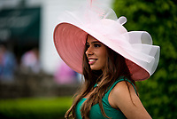 LOUISVILLE, KY - MAY 05: A woman wears a fancy hat as she poses for photos on Kentucky Oaks Day at Churchill Downs on May 5, 2017 in Louisville, Kentucky. (Photo by Scott Serio/Eclipse Sportswire/Getty Images)