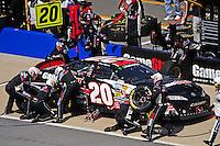 Apr 25, 2009; Talladega, AL, USA; NASCAR Nationwide Series driver Joey Logano pits during the Aarons 312 at the Talladega Superspeedway. Mandatory Credit: Mark J. Rebilas-