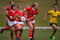 Emily Belchos passes during the 2017 International Women's Rugby Series rugby match between Canada and Australia Wallaroos at Smallbone Park in Rotorua, New Zealand on Saturday, 17 June 2017. Photo: Dave Lintott / lintottphoto.co.nz