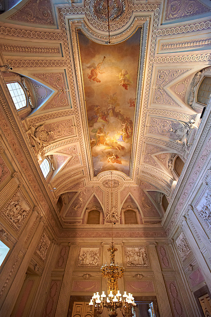"""The Room of the Bodyguards"" - the second antechamber is also called the ""Room of Stuccoes"" for its rich decoration. The  Kings of Naples Royal Palace of Caserta, Italy. A UNESCO World Heritage Site"