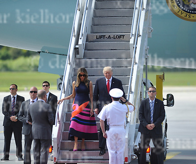 July 06-17,HH Airport, Hamburg,Germany<br /> G20 world leaders arrival at Hamburg Airport.<br /> U.S. President Donald J. Trump and the first lady Melania Trump are welcomed by Hamburg&rsquo;s Mayor Olaf Scholz as they arrive at Hamburg Airport.