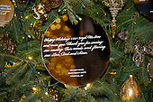 """The 2016 White House Christmas decorations are previewed for the press at the White House in Washington, DC on Tuesday, November 29, 2016. Pictured is an ornament on the White House Christmas Tree that reflects the unity of the United States.  The first lady's office released the following statement to describe those decorations, """"This year's holiday theme, 'The Gift of the Holidays,' reflects on not only the joy of giving and receiving, but also the true gifts of life, such as service, friends and family, education, and good health, as we celebrate the holiday season.""""<br /> Credit: Ron Sachs / CNP"""