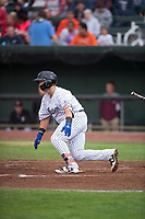 Idaho Falls Chukars catcher Chase Vallot (44) starts down the first base line during a Pioneer League game against the Billings Mustangs at Melaleuca Field on August 22, 2018 in Idaho Falls, Idaho. The Idaho Falls Chukars defeated the Billings Mustangs by a score of 5-3. (Zachary Lucy/Four Seam Images)