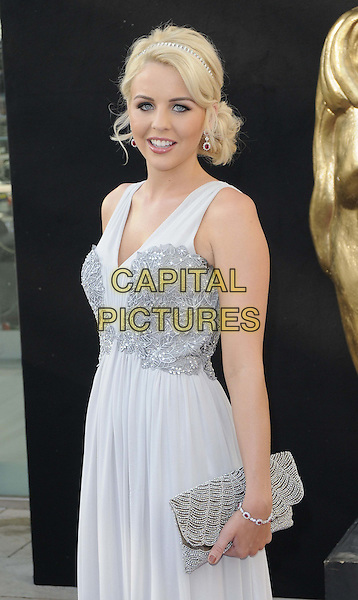 Lydia Rose Bright.Arrivals at the Arqiva British Academy Television Awards held at the Royal Festival Hall, London, England..May 27th, 2012.BAFTA BAFTAS half length grey gray dress lace clutch bag sleeveless .CAP/CAN.©Can Nguyen/Capital Pictures.