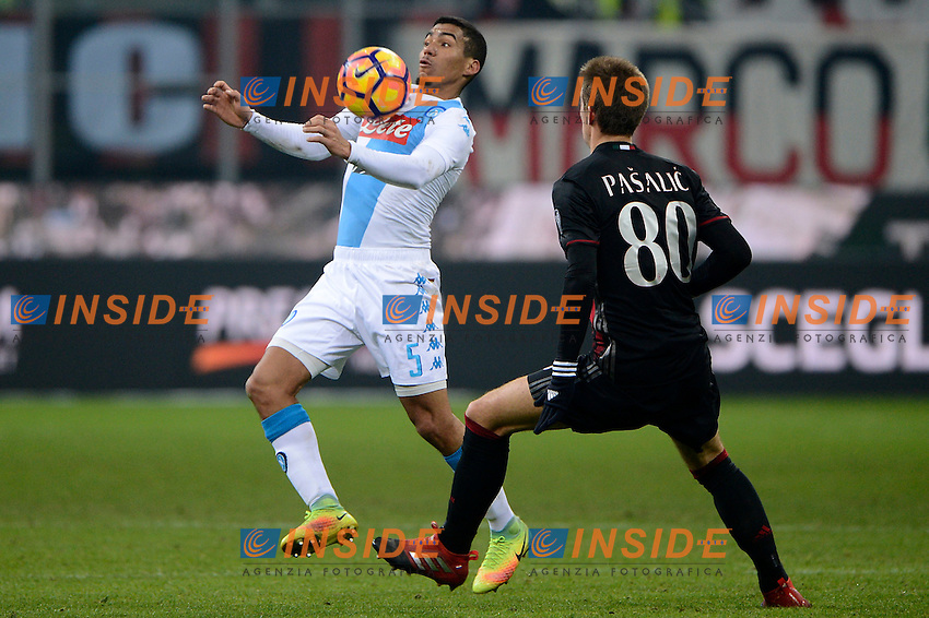 Allan Napoli, Mario Pasalic Milan<br /> Milano 21-01-2017 Stadio Giuseppe Meazza - Football Calcio Serie A Milan - Napoli Foto Insidefoto