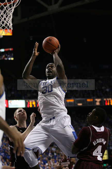 UK forward Julius Randle lays it up during the first half of the University of Kentucky men's basketball game vs. Mississippi State at Rupp Arena in Lexington, Ky., on Wednesday, January 8, 2014. Mississippi State leads Kentucky 40-37 at the half. Photo by Michael Reaves | Staff.