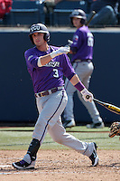 Davy Wright #3 of the TCU Horned Frogs bats against the Cal State Fullerton Titans at Goodwin Field on February 26, 2012 in Fullerton,California. Fullerton defeated TCU 11-10.(Larry Goren/Four Seam Images)
