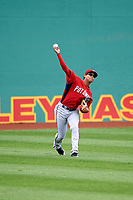 Potomac Nationals center fielder Blake Perkins (22) throws the ball back in after making a catch during the first game of a doubleheader against the Salem Red Sox on June 11, 2018 at Haley Toyota Field in Salem, Virginia.  Potomac defeated Salem 9-4.  (Mike Janes/Four Seam Images)