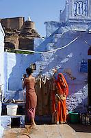 women in courtyard of their home in Jodhpur,  Rajastan, India