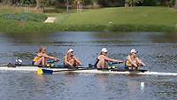 Redwood Shores, CA - April 2, 2017:  Cal Women's Crew competes in the 2017 Pac-12 Challenge.  Cal Women's Varsity 4+ races Michigan: Rachel Lether (Coxswain), Katherine Armstrong, Sam Lamos, Tara O'Reily, Hailey Drangsholt (Bow).