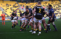 Vaea Fifita pops the ball out from a lineout take during the Mitre 10 Cup rugby match between Wellington Lions and Otago at Westpac Stadium in Wellington, New Zealand on Sunday, 19 August 2018. Photo: Dave Lintott / lintottphoto.co.nz