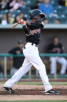 Dee Gordon #5 of the Albuquerque Isotopes plays in a Pacific Coast League game against the Omaha Storm Chasers at Isotopes Park on May 3, 2011  in Albuquerque, New Mexico. .Photo by:  Bill Mitchell/Four Seam Images.