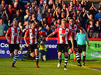 Exeter City's Jayden Stockley celebrates scoring the opening goal<br /> <br /> Photographer Andrew Vaughan/CameraSport<br /> <br /> The EFL Sky Bet League Two Play Off Second Leg - Exeter City v Lincoln City - Thursday 17th May 2018 - St James Park - Exeter<br /> <br /> World Copyright &copy; 2018 CameraSport. All rights reserved. 43 Linden Ave. Countesthorpe. Leicester. England. LE8 5PG - Tel: +44 (0) 116 277 4147 - admin@camerasport.com - www.camerasport.com