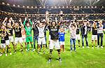 Solna 2015-08-10 Fotboll Allsvenskan AIK - Djurg&aring;rdens IF :  <br /> AIK:s Mohamed Bangura jublar framf&ouml;r AIK:s supportrar efter matchen mellan AIK och Djurg&aring;rdens IF <br /> (Foto: Kenta J&ouml;nsson) Nyckelord:  AIK Gnaget Friends Arena Allsvenskan Djurg&aring;rden DIF jubel gl&auml;dje lycka glad happy