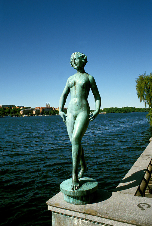 Europe, Sweden, Stockholm, Statue at City Hall, Photo: crubal103  .Photo Copyright: Lee Foster, (510) 549-2202, lee@fostertravel.com, www.fostertravel.com