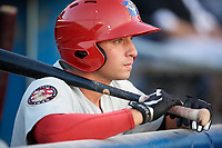 Auburn Doubledays second baseman Branden Boggetto (3) in the dugout during a game against the Batavia Muckdogs on June 19, 2017 at Dwyer Stadium in Batavia, New York.  Batavia defeated Auburn 8-2 in both teams opening game of the season.  (Mike Janes/Four Seam Images)
