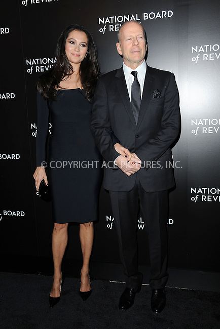 WWW.ACEPIXS.COM<br /> January 6, 2015 New York City<br /> <br /> Emma Heming, Bruce Willis attending the 2014 National Board of Review Gala at Cipriani 42nd Street on January 6, 2015 in New York City.<br /> <br /> Please byline: Kristin Callahan/AcePictures<br /> <br /> ACEPIXS.COM<br /> <br /> Tel: (212) 243 8787 or (646) 769 0430<br /> e-mail: info@acepixs.com<br /> web: http://www.acepixs.com