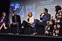"NEW YORK - APRIL 9: Norah O'Donnell, Wajahat Ali, Katie Couric, Aasif Mandvi and Ibtihaj Muhammad attend National Geographic's ""America Inside Out with Katie Couric"" Premiere Screening at the Titus Theater at MOMA on April 9, 2018 in New York City. ""America Inside Out with Katie Couric"", a new six-part documentary series, follows Couric as she travels the country to talk with the people bearing witness to the most complicated and consequential questions in American culture today. The weekly series premieres Wednesday, April 11, 2018, at 10/9c and will air globally on National Geographic.(Photo by Anthony Behar/National Geographic/PictureGroup)"