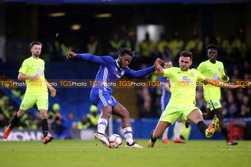 Michy Batshuayi of Chelsea takes a shot at the Peterborough goal during Chelsea vs Peterborough United, Emirates FA Cup Football at Stamford Bridge on 8th January 2017