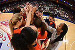 March 7, 2014; Las Vegas, NV, USA; Pepperdine Waves team huddles against the Brigham Young Cougars before the game of the WCC Basketball Championships at Orleans Arena.