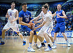 March 4, 2017:   Boise State guard, Justinian Jessup #3, battles for a loose ball against Falcon, Hayden Graham #35, during the NCAA basketball game between the Boise State Broncos and the Air Force Academy Falcons, Clune Arena, U.S. Air Force Academy, Colorado Springs, Colorado.  Boise State defeats Air Force 98-70.