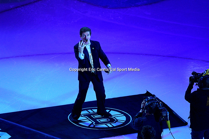 April 21, 2018: Boston Bruins anthem signer Rene Rancourt performs before game five of the first round of the National Hockey League's Eastern Conference Stanley Cup playoffs between the Toronto Maple Leafs and the Boston Bruins held at TD Garden, in Boston, Mass. Toronto defeats Boston 4-3, Boston leads Toronto 3 games to 2 in the best of 7 series.