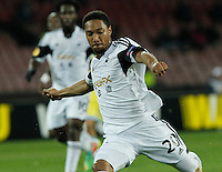 Jonathan De Guzman shoots to score<br /> <br />  UEFA Europa League round of 32 second  leg match, betweenAC  Napoli  and Swansea City   at San Paolo stadium in Naples, Feburary 27 , 2014