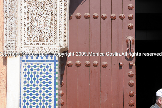 A doorway to a Mosque in Marrakesh, Morocco.