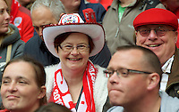Barnsley fans before the Johnstone's Paint Trophy FINAL match between Oxford United and Barnsley at Wembley Stadium, London, England on 3 April 2016. Photo by Alan  Stanford / PRiME Media Images.