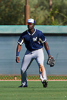 Milwaukee Brewers Demi Orimoloye (21) during an instructional league game against the Los Angeles Dodgers on October 13, 2015 at Cameblack Ranch in Glendale, Arizona.  (Mike Janes/Four Seam Images)