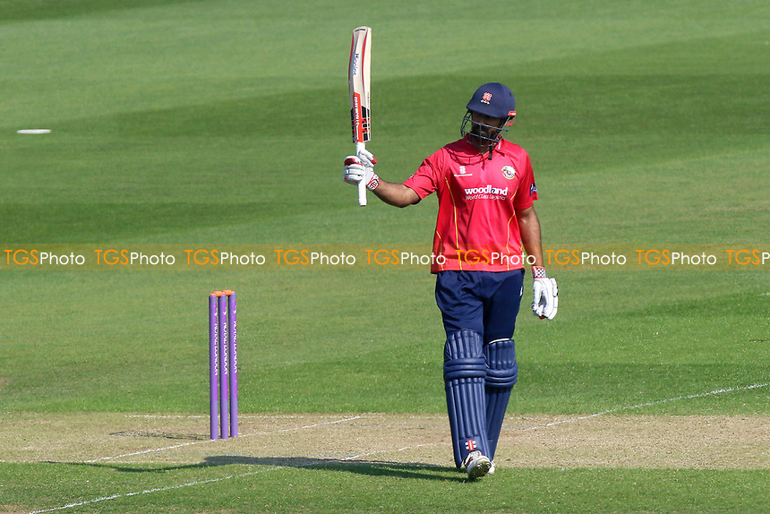 Varun Chopra of Essex celebrates scoring a half-century, 50 runs during Glamorgan vs Essex Eagles, Royal London One-Day Cup Cricket at the SSE SWALEC Stadium on 7th May 2017