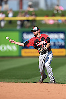 Tampa Spartans second baseman Cody deNoyelles (13) throws to first for an out during an exhibition game against the Philadelphia Phillies on March 1, 2015 at Bright House Field in Clearwater, Florida.  Tampa defeated Philadelphia 6-2.  (Mike Janes/Four Seam Images)