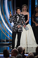 Darren Criss accepts the Golden Globe Award for BEST PERFORMANCE BY AN ACTOR IN A LIMITED SERIES OR A MOTION PICTURE MADE FOR TELEVISION for his role in &quot;The Assassination of Gianni Versace: American Crime Story&quot; at the 76th Annual Golden Globe Awards at the Beverly Hilton in Beverly Hills, CA on Sunday, January 6, 2019.<br /> *Editorial Use Only*<br /> CAP/PLF/HFPA<br /> Image supplied by Capital Pictures