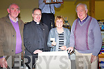 TICKET: Florence Ahern Ballymacelligott draws one of the winnning tickets at the Ballymacelligott Bazzar in The community Ballymacelligott on Sunday l-r: Roger O'Halloran, Fr Pat Crean-Lynch, Florence OAhern and Bob Fitzgerald.