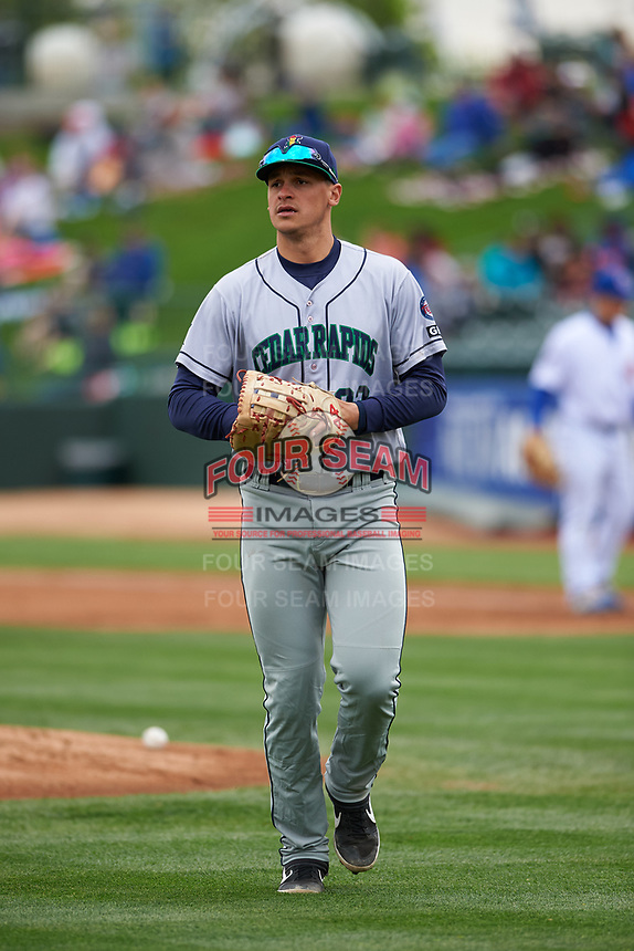 Cedar Rapids Kernels first baseman Ben Rodriguez (23) jogs off the field between innings of a Midwest League game against the South Bend Cubs at Four Winds Field on May 8, 2019 in South Bend, Indiana. South Bend defeated Cedar Rapids 2-1. (Zachary Lucy/Four Seam Images)