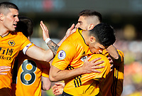 Wolverhampton Wanderers' Raul Jimenez celebrates scoring his side's third goal<br /> <br /> Photographer Alex Dodd/CameraSport<br /> <br /> The Premier League - Wolverhampton Wanderers v Norwich City - Sunday 23rd February 2020 - Molineux - Wolverhampton<br /> <br /> World Copyright © 2020 CameraSport. All rights reserved. 43 Linden Ave. Countesthorpe. Leicester. England. LE8 5PG - Tel: +44 (0) 116 277 4147 - admin@camerasport.com - www.camerasport.com