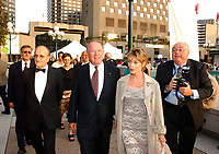 Sept 3rd, 2001, Montreal, Quebec, Canada; <br /> <br />  Quebec Premier ; Bernard Landry (M(, his guest (R) and Montreal World Film Festival President ; Serge Losique (L) , arrive at the closing Awards ceremony of the Festival, September 3rd 2001.