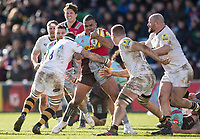 Harlequins' Kyle Sinckler in action during todays match<br /> <br /> Photographer Bob Bradford/CameraSport<br /> <br /> Aviva Premiership Round 14 - Harlequins v Wasps - Sunday 11th February 2018 - Twickenham Stoop - London<br /> <br /> World Copyright &copy; 2018 CameraSport. All rights reserved. 43 Linden Ave. Countesthorpe. Leicester. England. LE8 5PG - Tel: +44 (0) 116 277 4147 - admin@camerasport.com - www.camerasport.com