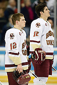 Ben Smith (Boston College - Avon, CT), Brian Boyle (Boston College - Hingham, MA) - The Boston College Eagles defeated the Miami University Redhawks 4-0 in the 2007 NCAA Northeast Regional Final on Sunday, March 25, 2007 at the Verizon Wireless Arena in Manchester, New Hampshire.