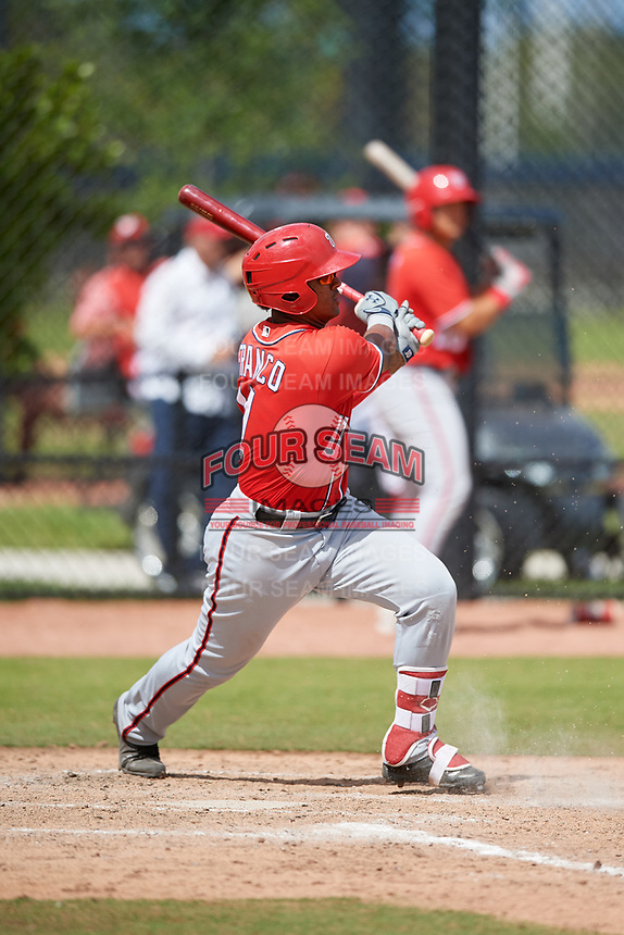 Washington Nationals Anderson Franco (11) during a Minor League Spring Training game against the Miami Marlins on March 28, 2018 at FITTEAM Ballpark of the Palm Beaches in West Palm Beach, Florida.  (Mike Janes/Four Seam Images)